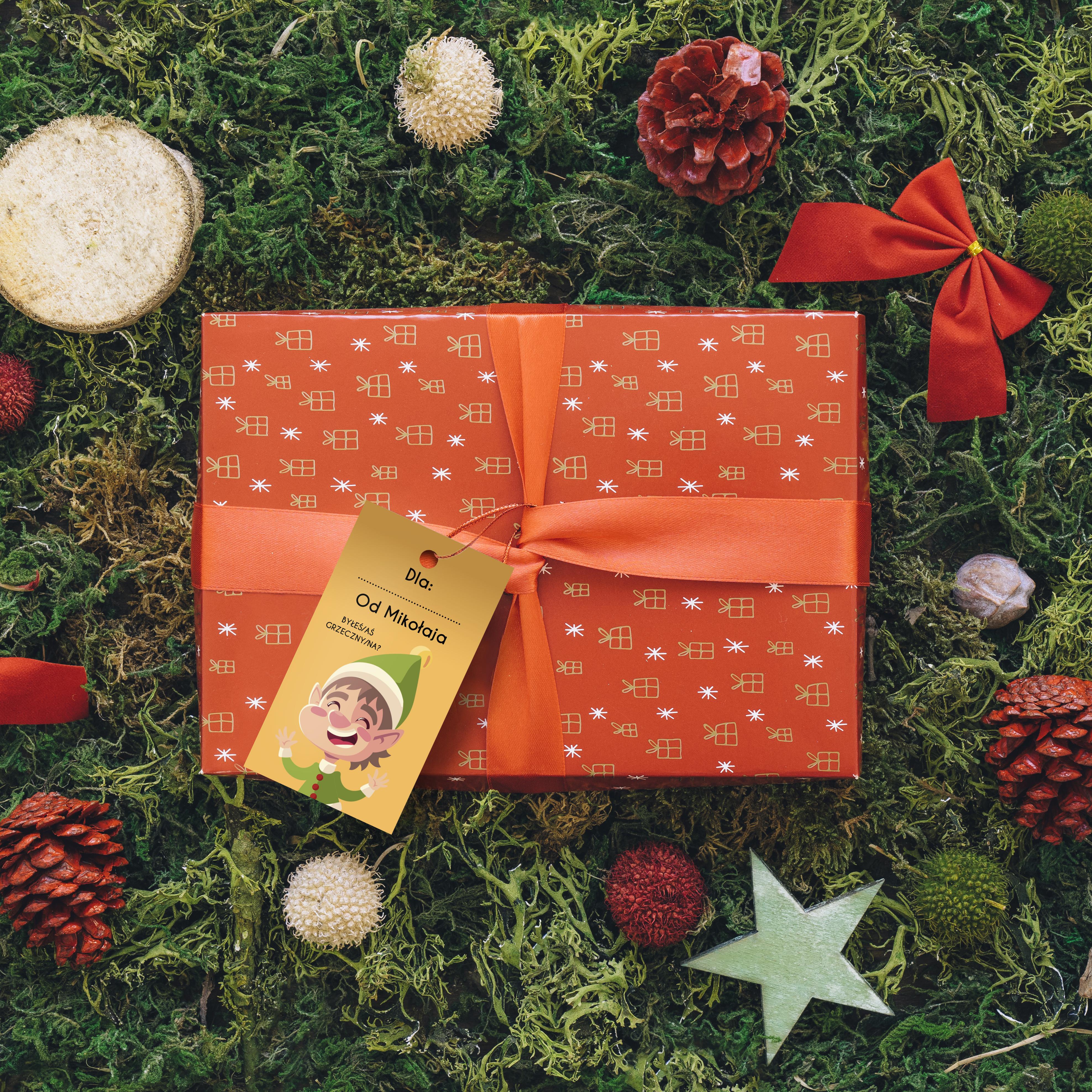 Zawieszki bileciki na prezenty świąteczne elf