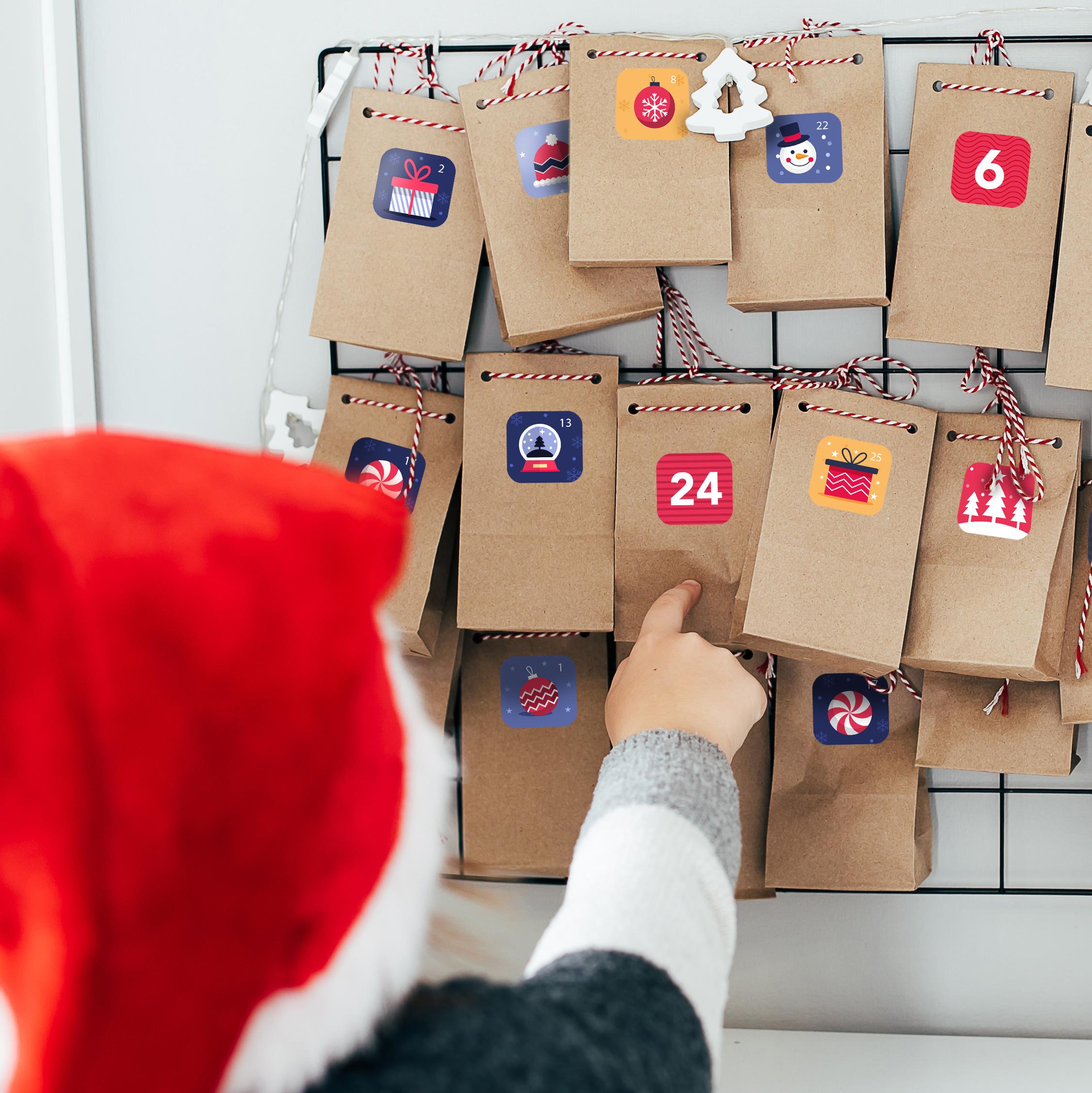 Naklejki świąteczne adwentowy kalendarz 2022 arkusz A4 zestaw_3