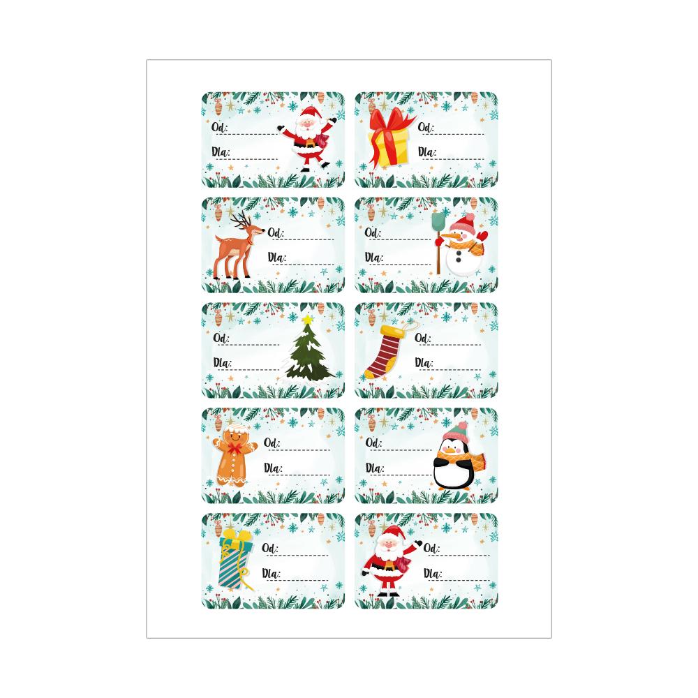 Naklejki świąteczne na prezenty twój podpis mix wzorów zestaw_2